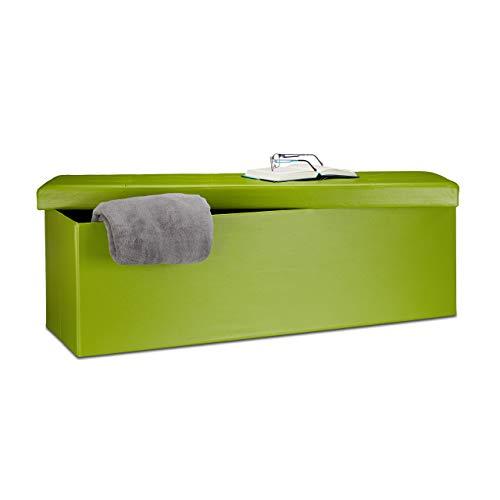 Relaxdays Banco plegable, Baúl de almacenaje, Cuero sintético, 38 x 114 x 38 cm,...