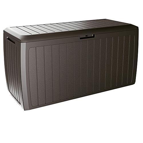 Deuba Baúl de Almacenamiento Board Plus marrón para Exterior e Interior arcón de...